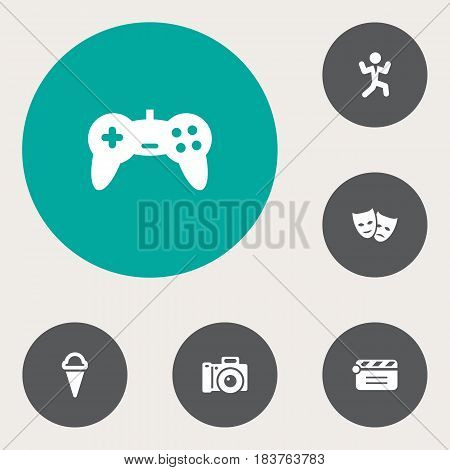 Set Of 6 Entertainment Icons Set.Collection Of Disco, Joystick, Theater And Other Elements.