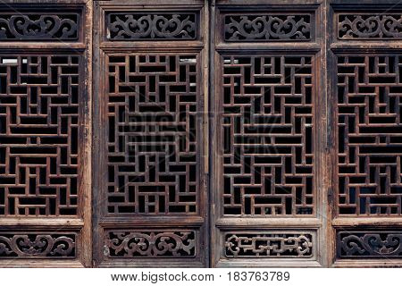 full frame shot of traditional Chinese wooden window.