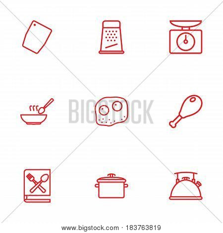Set Of 9 Cooking Outline Icons Set.Collection Of Soup, Book Of Recipes, Chopping Board And Other Elements.