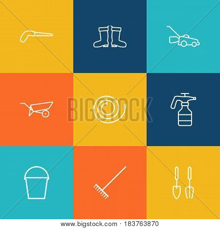 Set Of 9 Household Outline Icons Set.Collection Of Barrow, Arm-Cutter, Grass-Cutter And Other Elements.