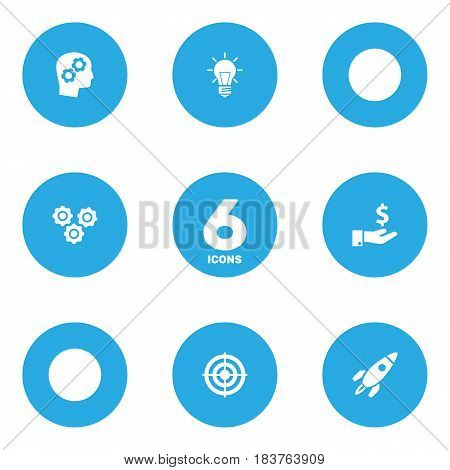 Set Of 6 Idea Icons Set.Collection Of Bulb, Sponsor, Thinking Head And Other Elements.