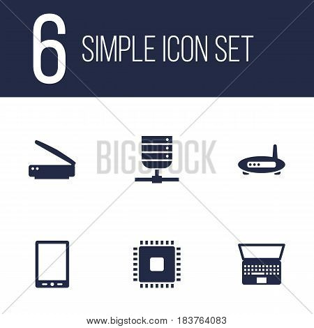 Set Of 6 Notebook Icons Set.Collection Of Datacenter, Notebook, Photocopy And Other Elements.