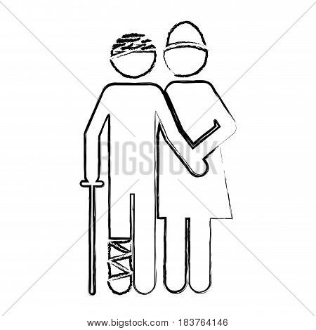 blurred silhouette pictogram nurse with bandaged patient vector illustration