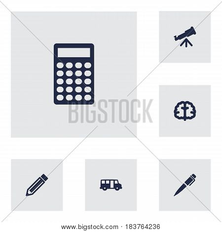 Set Of 6 Science Icons Set.Collection Of School Autobus, Ink, Drawing Tool And Other Elements.