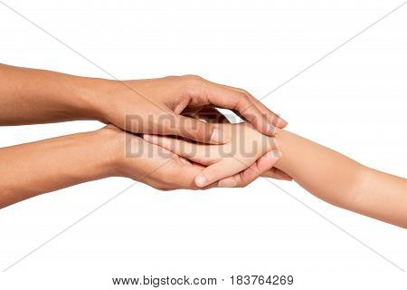 little girl and mothers hands isolated on white background