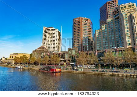 Melbourne Southbank District Cityscape