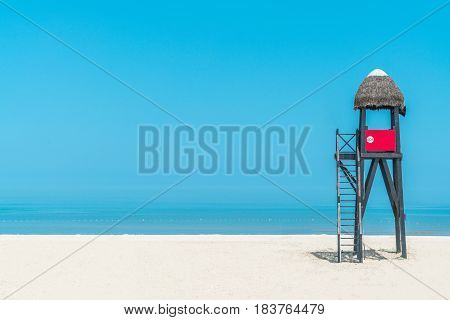 Lifeguard tower on beach palm roof china