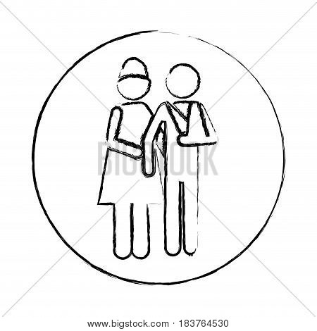 blurred circular frame silhouette pictogram nurse with bandaged arm patient vector illustration