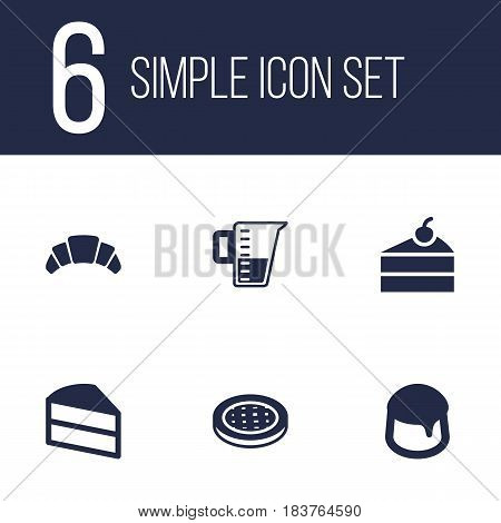 Set Of 6 Stove Icons Set.Collection Of Custard, Pastry, Dessert And Other Elements.