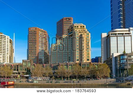 Melbourne Southbank Cityscape With Skyscrapers And Luxury Hotels