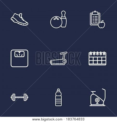 Set Of 9 Training Outline Icons Set.Collection Of Calendar, Exercise Bike, Water Bottle And Other Elements.