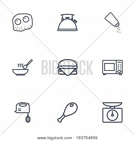 Set Of 9 Kitchen Outline Icons Set.Collection Of Kettle, Chicken Leg, Mixer And Other Elements.