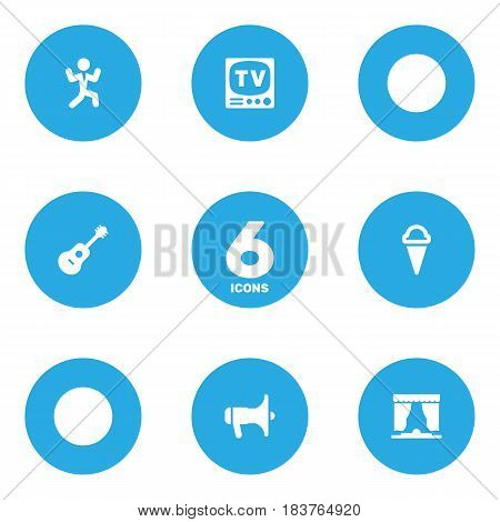 Set Of 6 Entertainment Icons Set.Collection Of Disco, Television, Curtain And Other Elements.