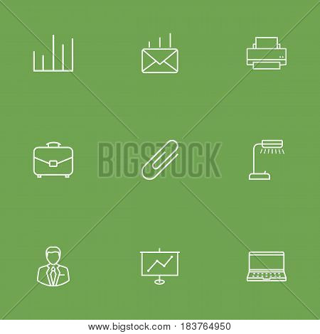 Set Of 9 Service Outline Icons Set.Collection Of Fastener Paper, Printing Machine, Show And Other Elements.