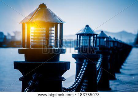 Light fixtures Against Seashot in Qingdao,China .