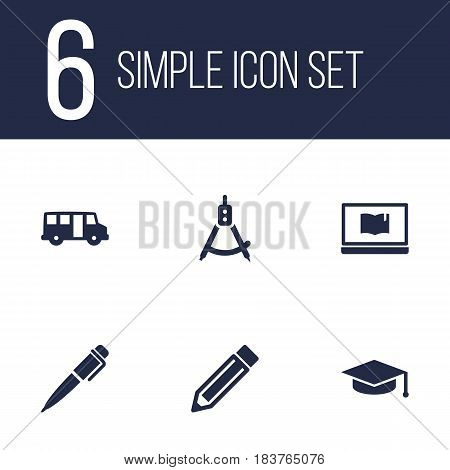 Set Of 6 Science Icons Set.Collection Of Ink, Drawing Tool, Notebook And Other Elements.