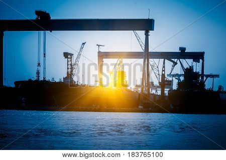 Cargo container ship at harbor in city of China.