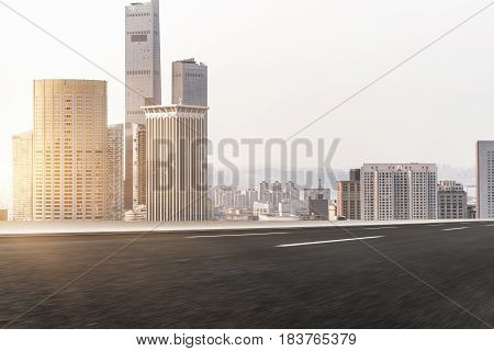 traffic road through modern city in Shanghai China.