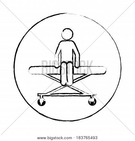 blurred circular frame silhouette pictogram patient sit in stretcher clinical vector illustration