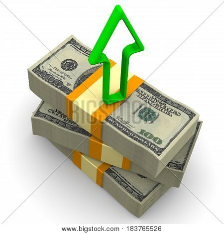 Income growth. Packs of US dollars tied with a tapes on a white surface with a green arrow pointing upwards. Isolated. 3D Illustration