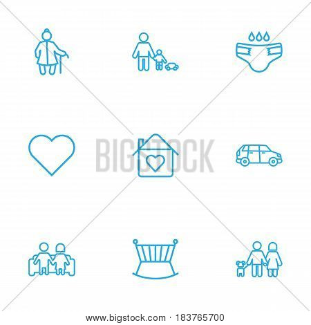 Set Of 9 Relatives Outline Icons Set.Collection Of Diaper, Soul, Lovers And Other Elements.