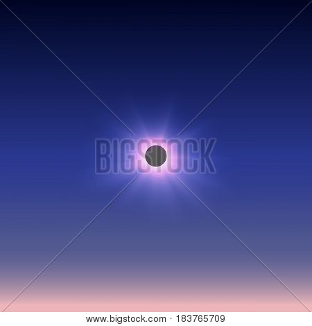 The total solar eclipse represented against the dark sky passing into a pink azure.