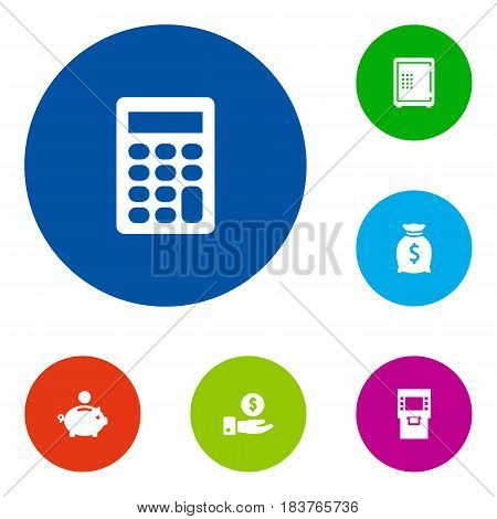 Set Of 6 Sponsor Icons Set.Collection Of Save Money, Calculate, Terminal And Other Elements.