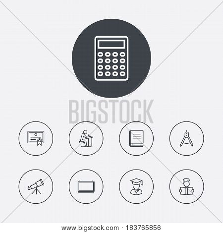 Set Of 9 Science Outline Icons Set.Collection Of Telescope, Compass, Pupil And Other Elements.