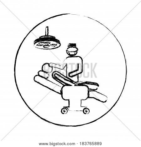 blurred circular frame silhouette pictogram person with surgeon vector illustration