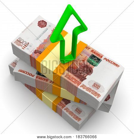 Income growth. Packs of Russian rubles tied with a tapes on a white surface with a green arrow pointing upwards. Isolated. 3D Illustration