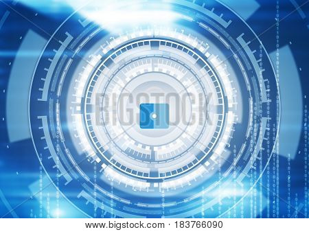 Abstract futuristic digital technology background with padlock