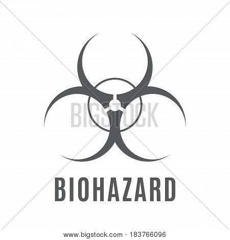 The sign of biological danger executed in gray color on a white background.