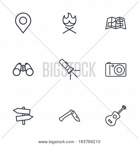 Set Of 9 Camping Outline Icons Set.Collection Of Guitar, Place Pointer, Pocket Torch And Other Elements.