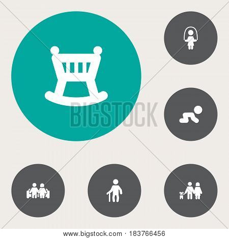Set Of 6 Relatives Icons Set.Collection Of Girl, Married, Walking And Other Elements.