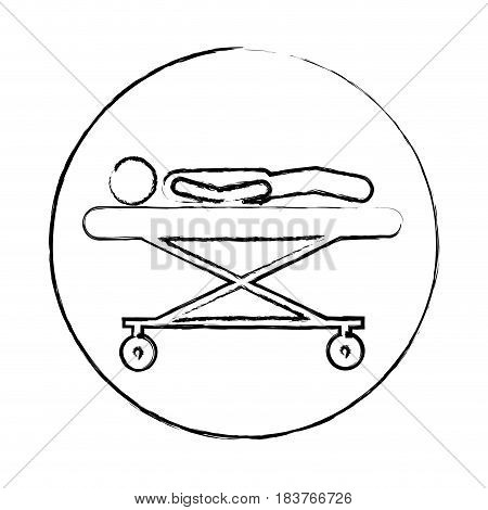 blurred circular frame silhouette pictogram lay down patient in stretcher clinical vector illustration