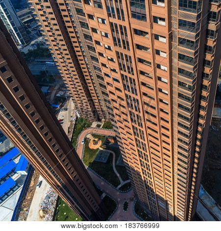 aerial view of residential district in China.