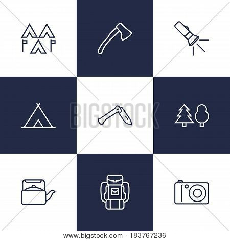 Set Of 9 Picnic Outline Icons Set.Collection Of Photographing, Pocket Torch, Shelter And Other Elements.