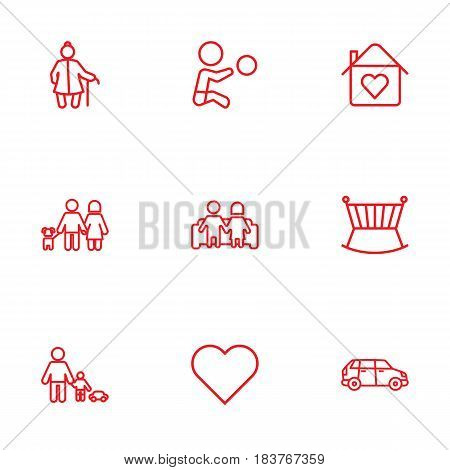 Set Of 9 Relatives Outline Icons Set.Collection Of Grangmother, Crib, Lovers And Other Elements.