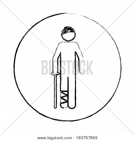 blurred circular frame silhouette pictogram bandaged patient icon flat vector illustration