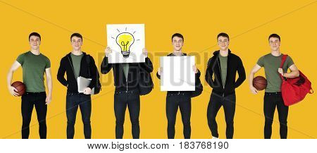 Young Adult Man Sport Player Studio Portrait Isolated
