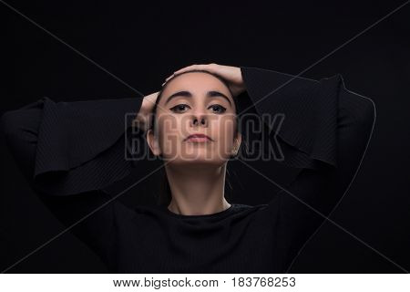 One Young Adult Woman, Black Clothes Head Face