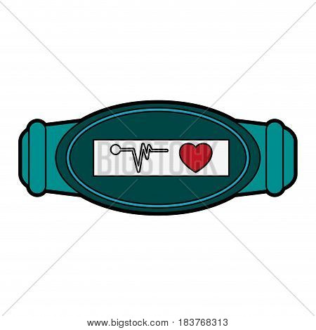 mobile heart rate wrist monitor icon image vector illustration design