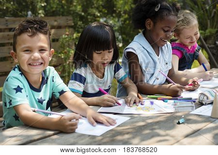 Little Kids Drawing Painting Art Together