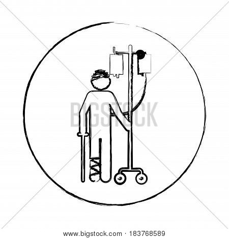 blurred circular frame silhouette pictogram bandage patient hospitalized vector illustration