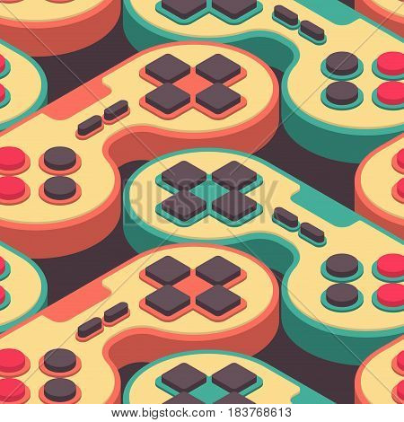 Joystick Retro Seamless Pattern. Gampad Game Console 8 Bit Texture. Retro Video Game Control Backgro