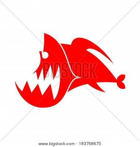 Piranhas Logo Sign. Marine Predator Fish Of Amazon. Toothed River Animal