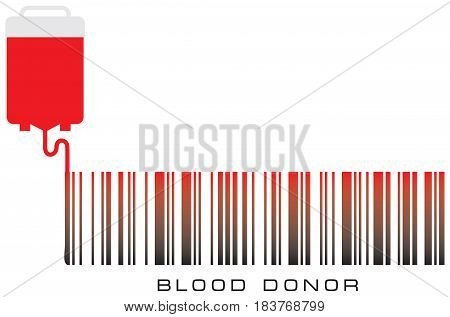 Bar code with text Blood donor and plastic bag with blood.