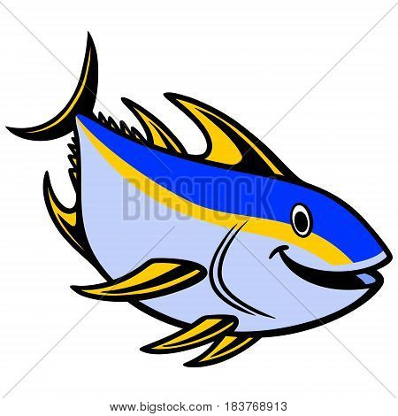 A vector illustration of a Yellowfin Tuna Diving.