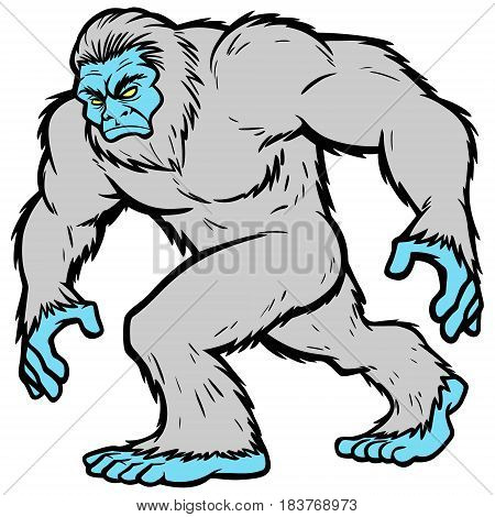 A vector illustration of a Yeti walking.