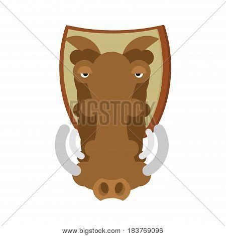 Warthog Hunting Trophy. Head Wild Boar On Shield. African Pig Decoration